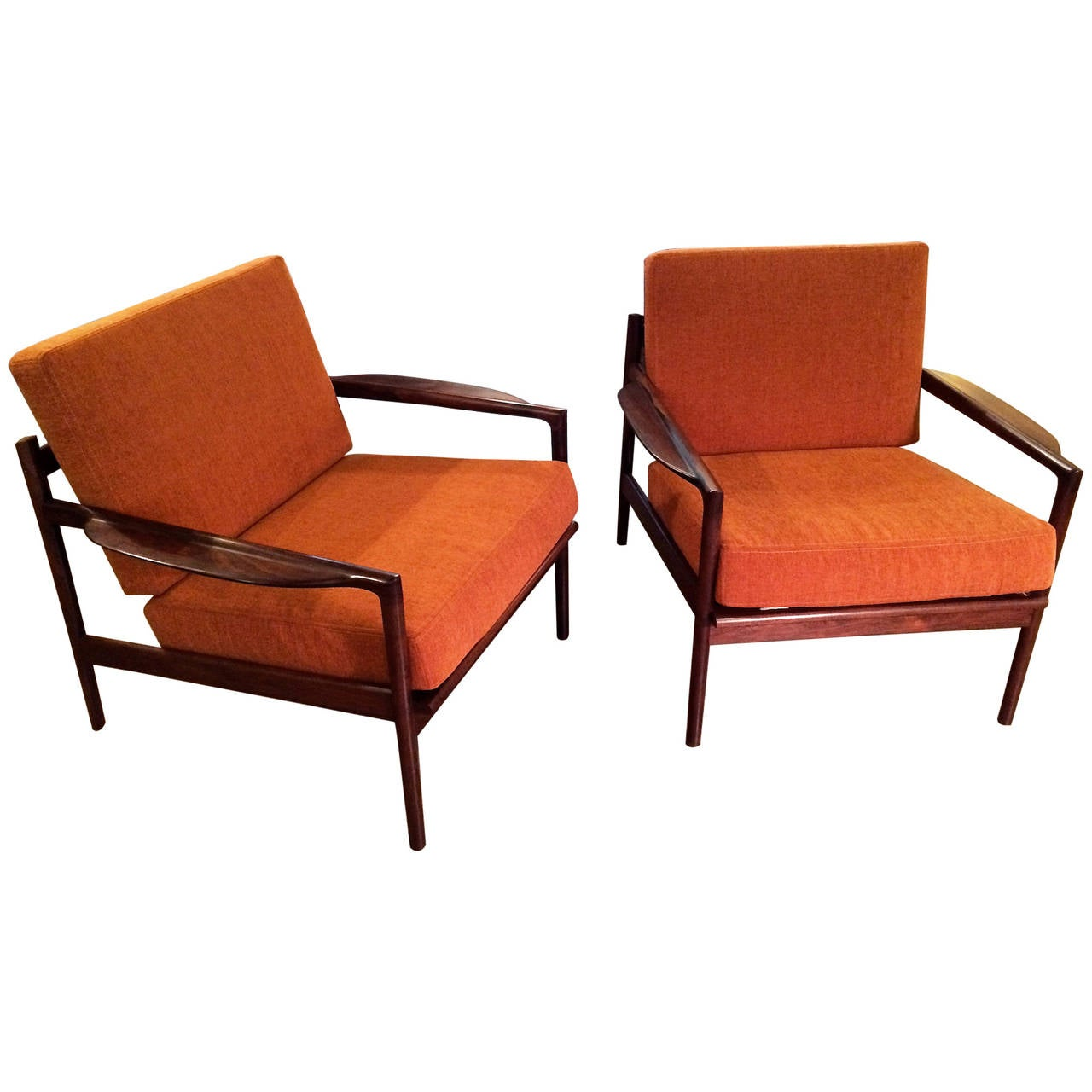 Pair of Selig Rosewood Lounge Chairs at 1stdibs