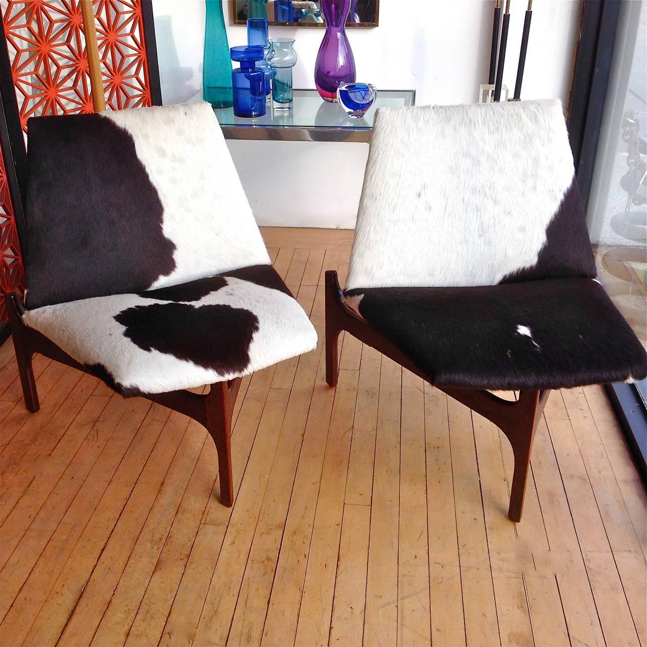 Pair Of John Keal For Brown Saltman Sculptural Lounge Chairs