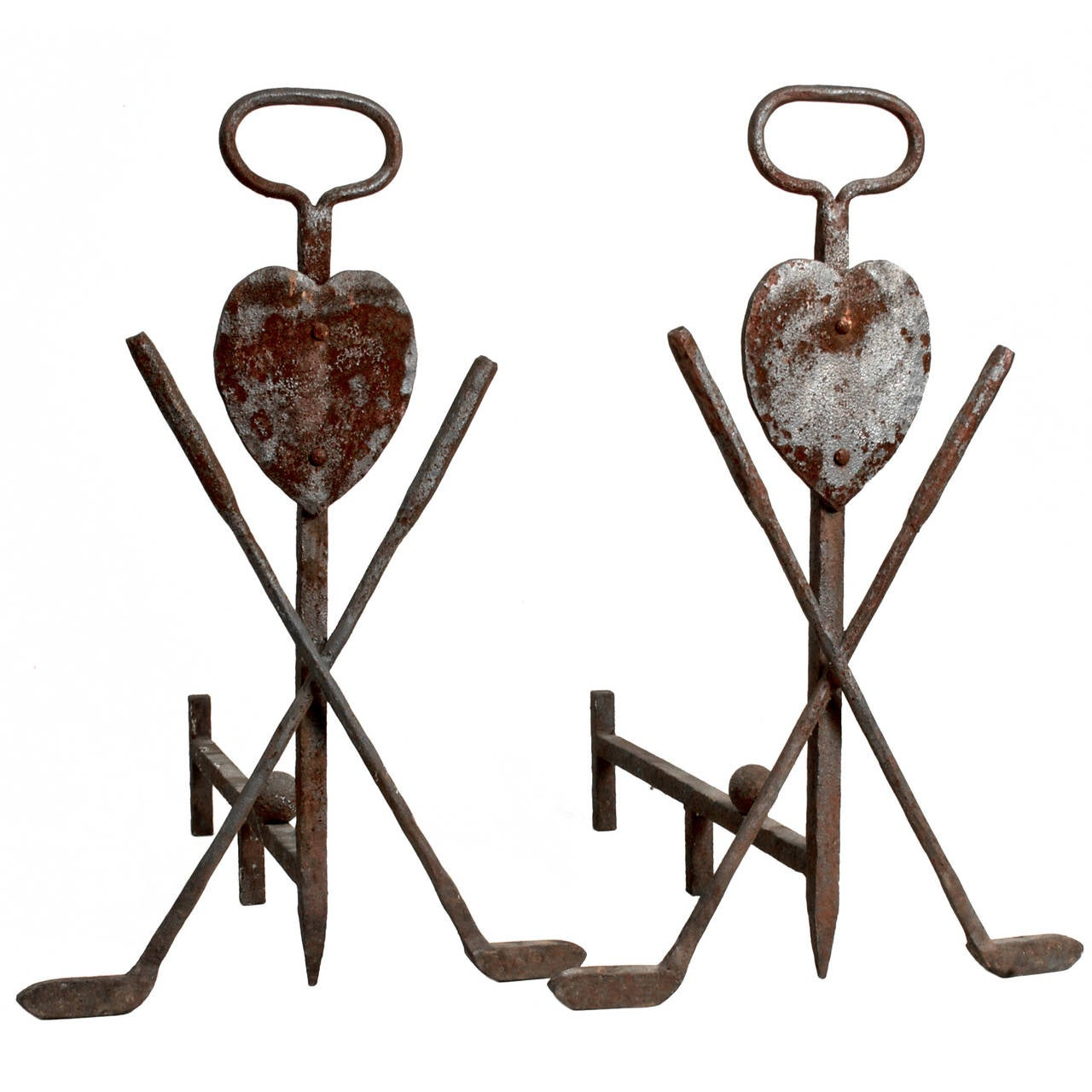 Cast Iron Golf and Heart Andirons
