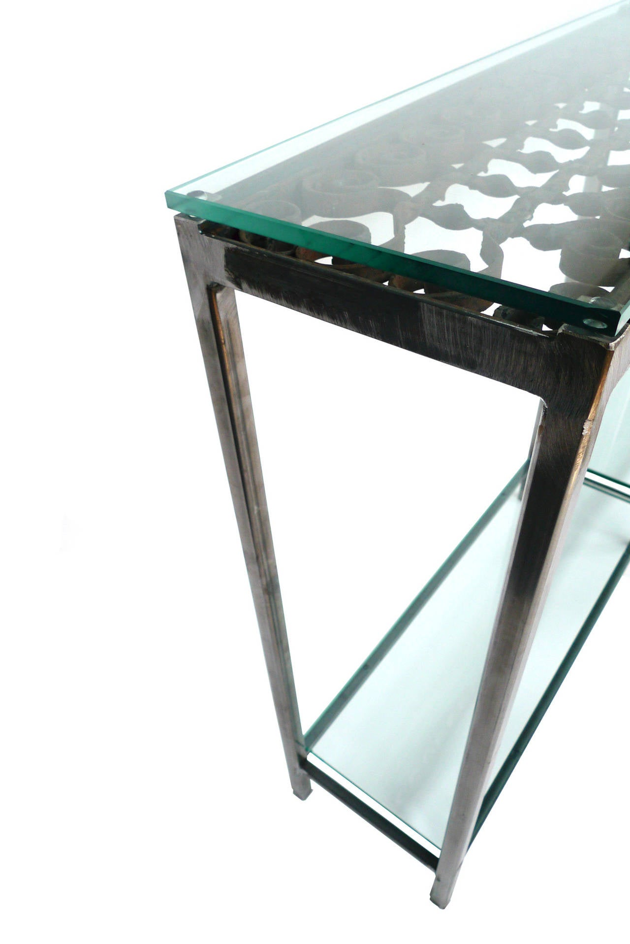 Custom-Made Iron and Glass Console Table For Sale at 1stdibs