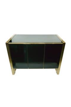 Maison Jansen Style Brass & Black Glass Cabinet
