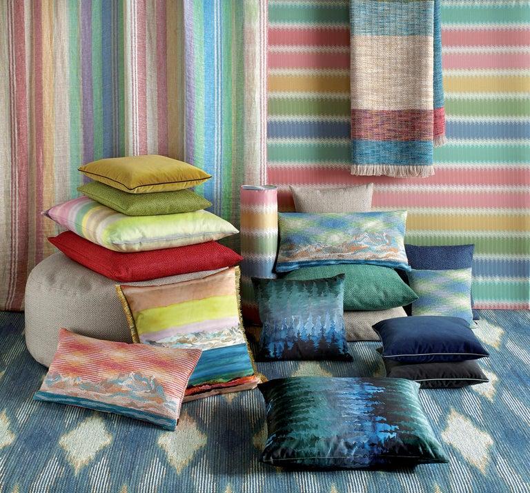 For Sale: Blue (1O4CU00729-70) Ojus Small Chevron Yarn-Dyed Cushion by MissoniHome 3