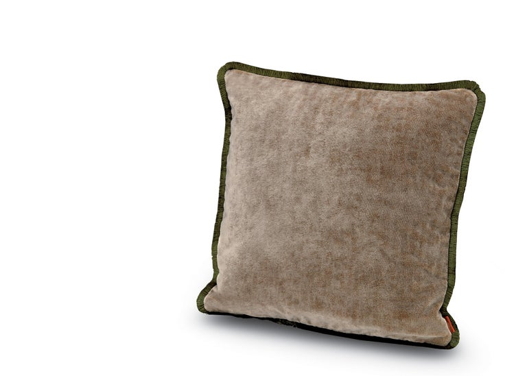 For Sale: Brown (1T4CU00719-48) Tibet Small Crushed Velvet Cushion with Fringe by MissoniHome