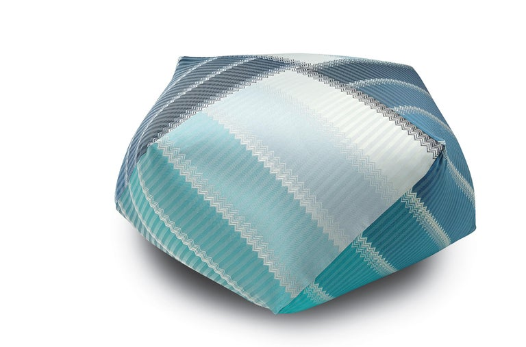 For Sale: Blue (1P4LV00101-P262 (174)) Wells Reversible Patchwork Jacquard Diamante Pouf by MissoniHome