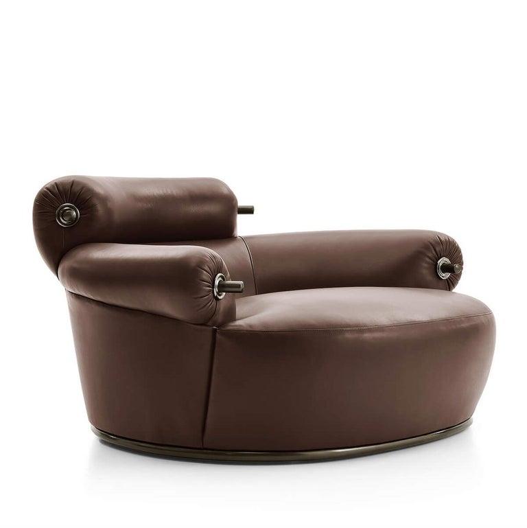 For Sale: Brown (KOTO LEATHER DARK BROWN- 1119355) Azucena Toro Armchair by Luigi Caccia Dominioni
