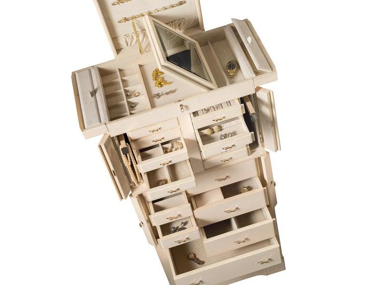 For Sale: Beige (Cream Bird's Eye Maple) Agresti Il Grande Scrigno Jewelry Armoire 3