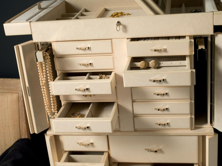 For Sale: Beige (Cream Bird's Eye Maple) Agresti Il Grande Scrigno Jewelry Armoire 4