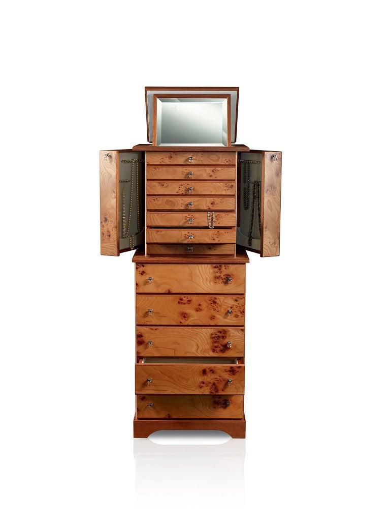 For Sale: Brown (Briar Wood) Agresti Lo Scrigno Jewelry Armoire 2
