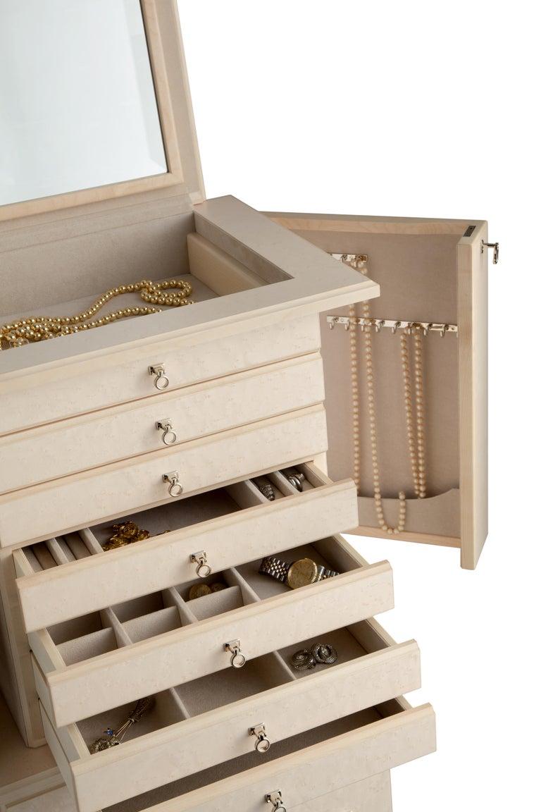 For Sale: Beige (Cream Bird's Eye Maple) Agresti Lo Scrigno Jewelry Armoire 3