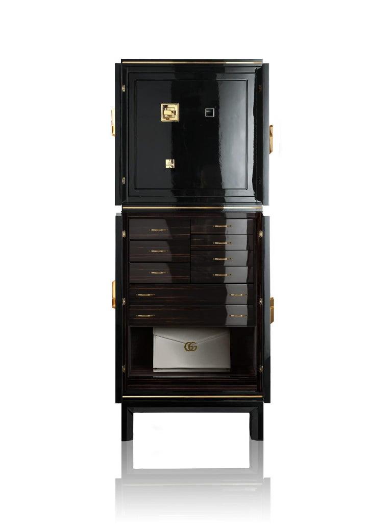 For Sale: Black (Ebony) Agresti Magia Winder Jewelry Armoire