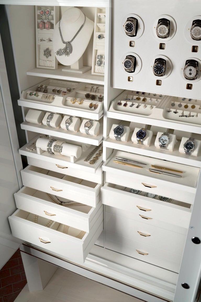 For Sale: White (White Bird's Eye Maple) Agresti Lei Lui Armoire with Safe 3
