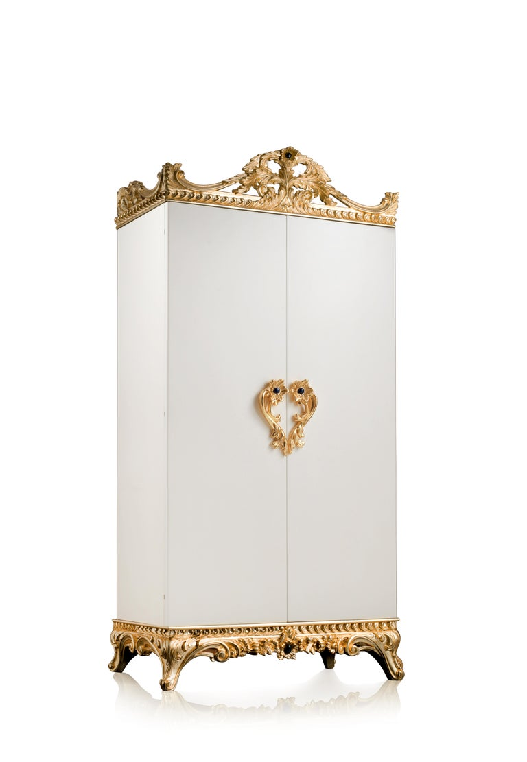 For Sale: White (White Bird's Eye Maple) Agresti La Grande Fortezza Armored Jewelry Armoire