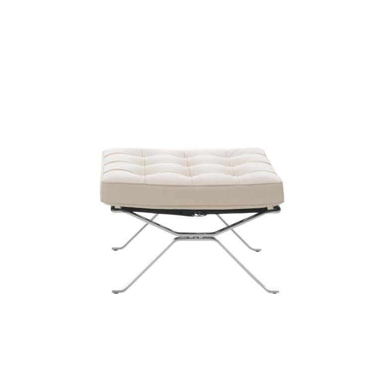 For Sale: White (Offwhite) RH-301 Bauhaus Leather Tufted Footstool by Robert Haussmann for De Sede