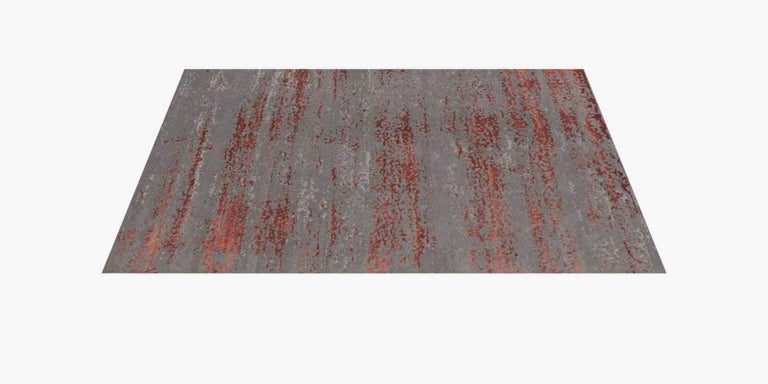 For Sale: Multi (Laria Carbon/Amber) Ben Soleimani Laria Rug– Handcrafted Wool + Silk Fog 6'x9' 2