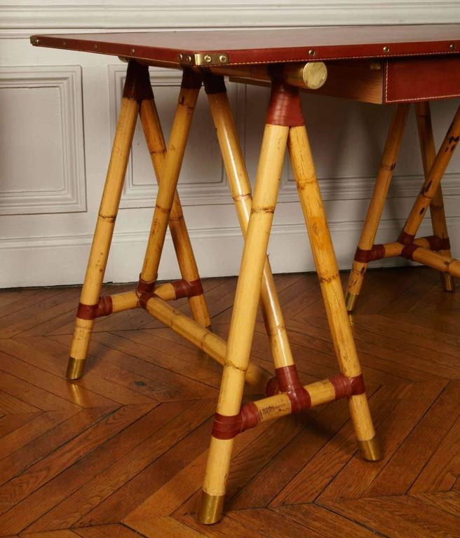 Leather 1950s Desk by Jacques Adnet For Sale