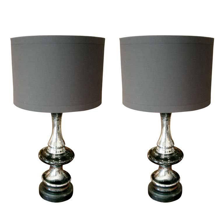 one pair of mercury glass lamps at 1stdibs. Black Bedroom Furniture Sets. Home Design Ideas