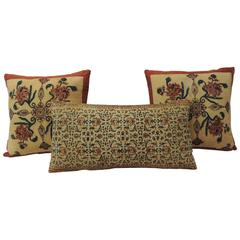 19th Century Hand-Blocked Indian Pillows
