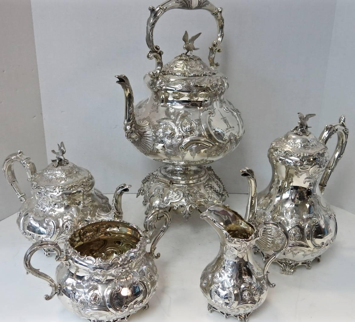 Victorian Antique English Sterling Silver Hand Chased Tea