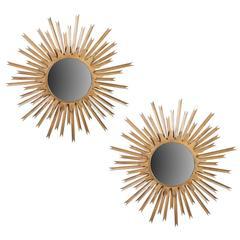 Pair of Large Brass Sunburst Mirrors with Back Lighting