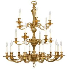 Very Large French 19th Century Brass Chandelier