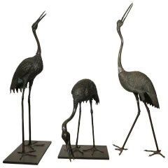Set of Three 19th Century Bronze Japanese Cranes