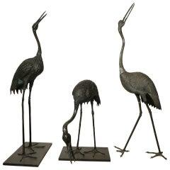 Set of Three 19th Century Bronze Japanese Cranes