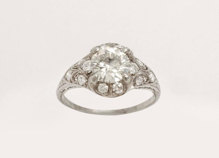 Antique Diamond Platinum Engagement Ring In Excellent Condition For Sale In New York, NY