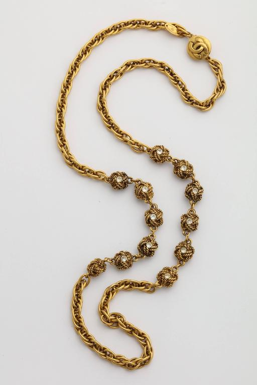 Chanel Gold Nuggets Necklace with Embedded Crystals 2