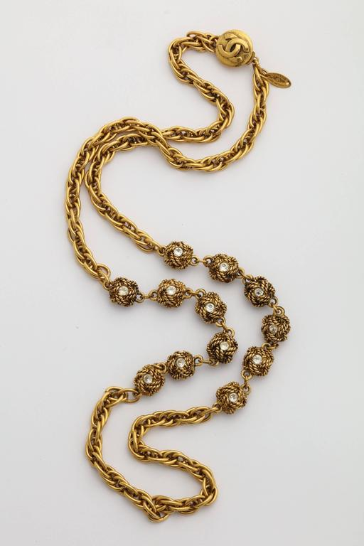 Chanel Gold Nuggets Necklace with Embedded Crystals 4
