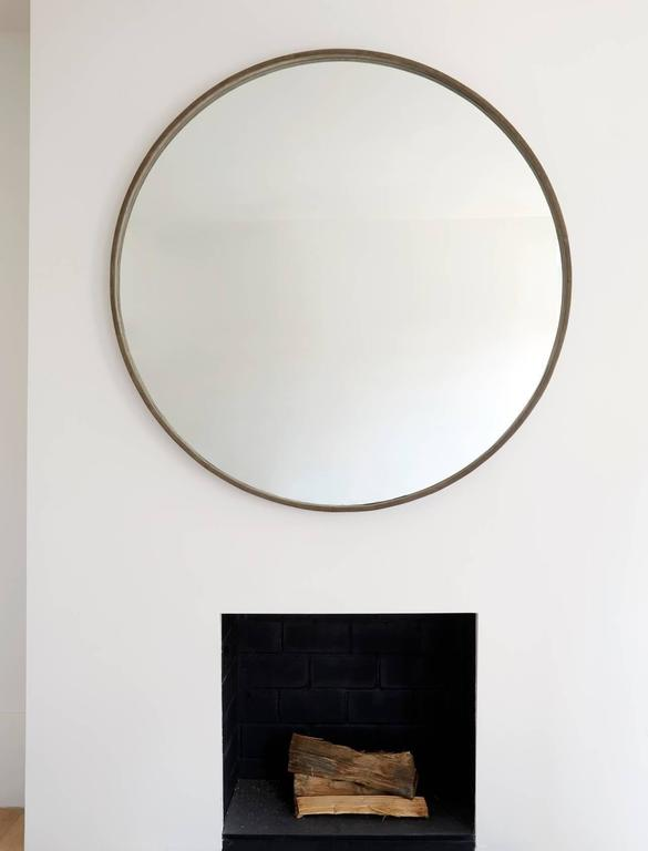 Modern Large Basic Grey Suede Mirror by ASH NYC For Sale