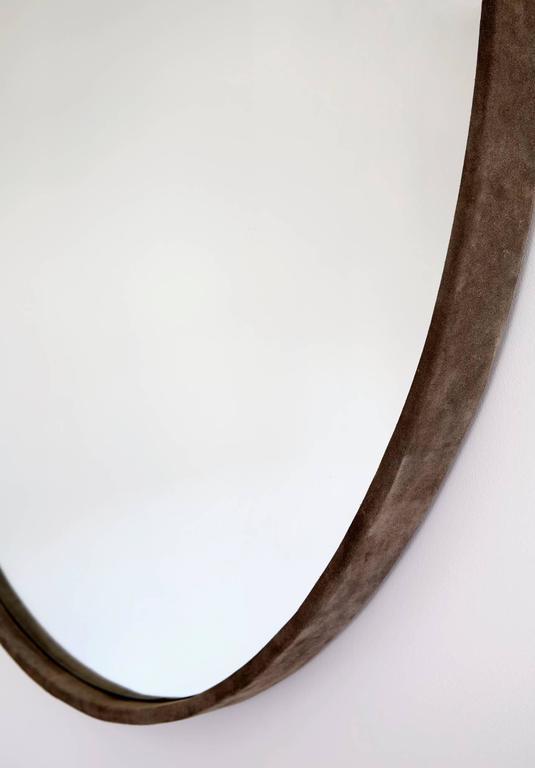 Medium Basic Grey Suede Mirror by ASH NYC 3