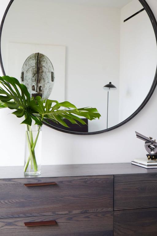 Medium Basic Grey Suede Mirror by ASH NYC 4