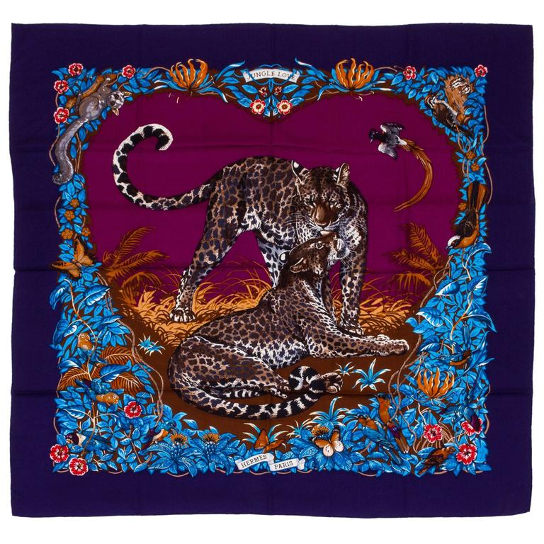 "New Hermes Jungle Love 55"" Cashmere Shawl by Dallet, Box"