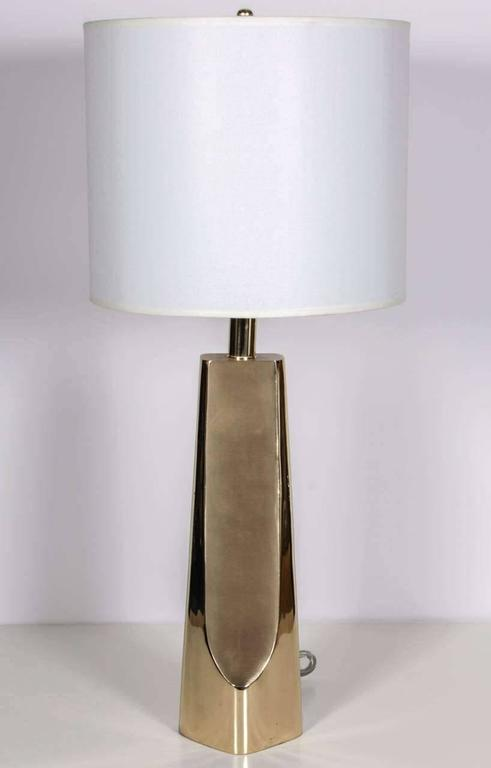 Pair of Modernist Brass Table Lamps by Laurel 2