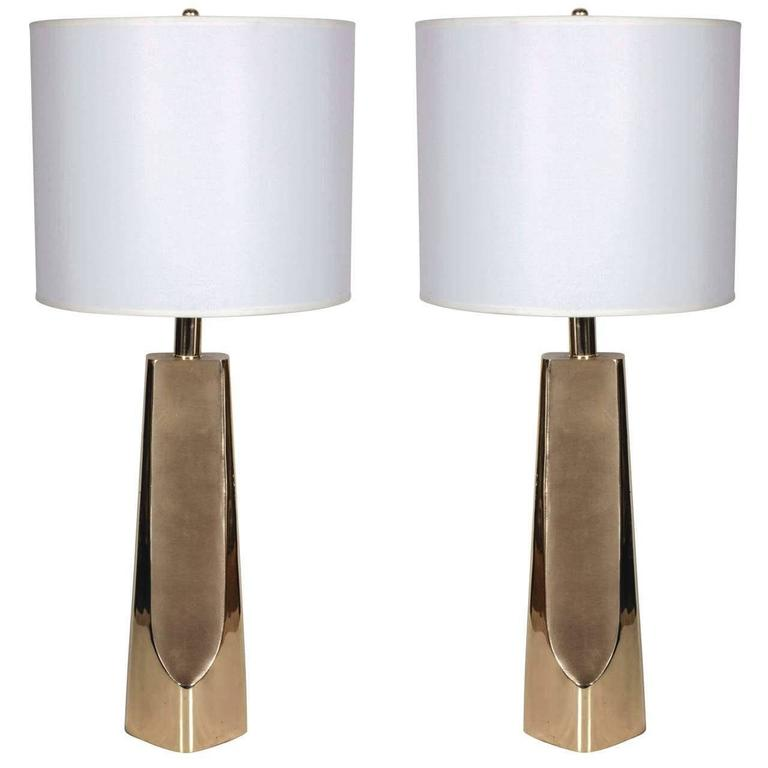 Pair of Modernist Brass Table Lamps by Laurel 1