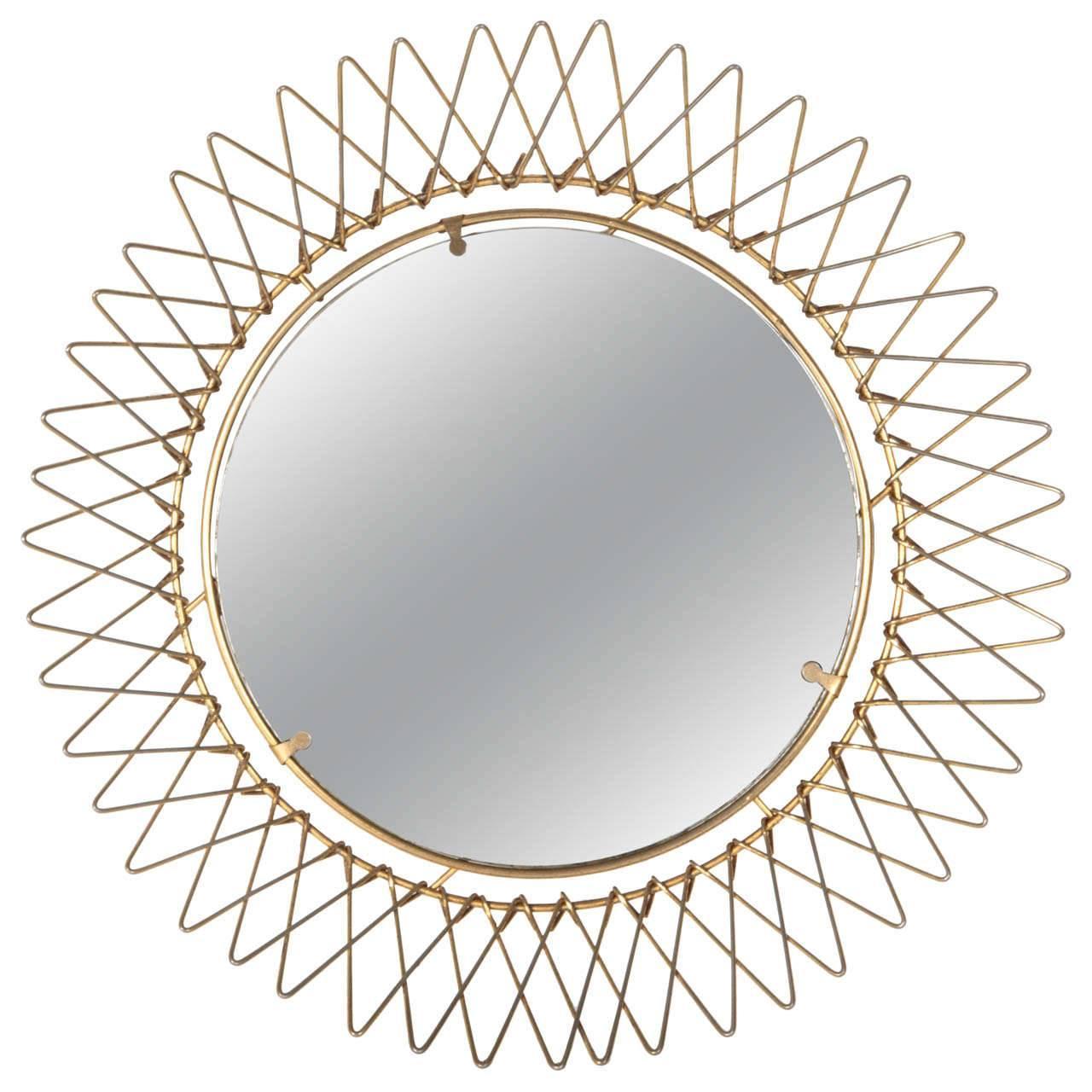 French Petite Brass Wire Starburst Mirror