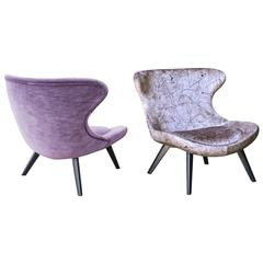 Modern European Pair of Retro Scandinavian-Inspired Velvet Armchairs from France