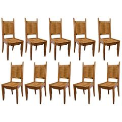 Set of Ten French Oak Chairs by Guillerme & Chambron, France, 1960s