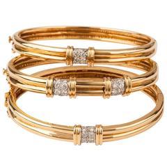 Tiffany & Co. Set of Three Diamond Gold Bracelets