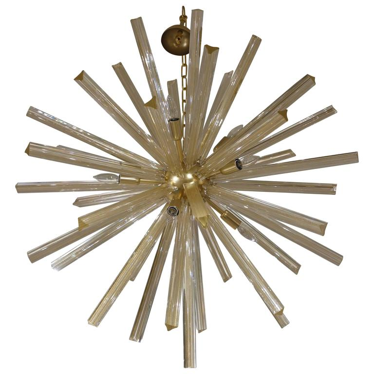 Italian Gold Infused Murano Glass and Satin Brass Diameter Sputnik Chandelier 1