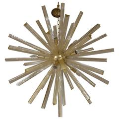 Italian Gold Infused Murano Glass and Satin Brass Diameter Sputnik Chandelier