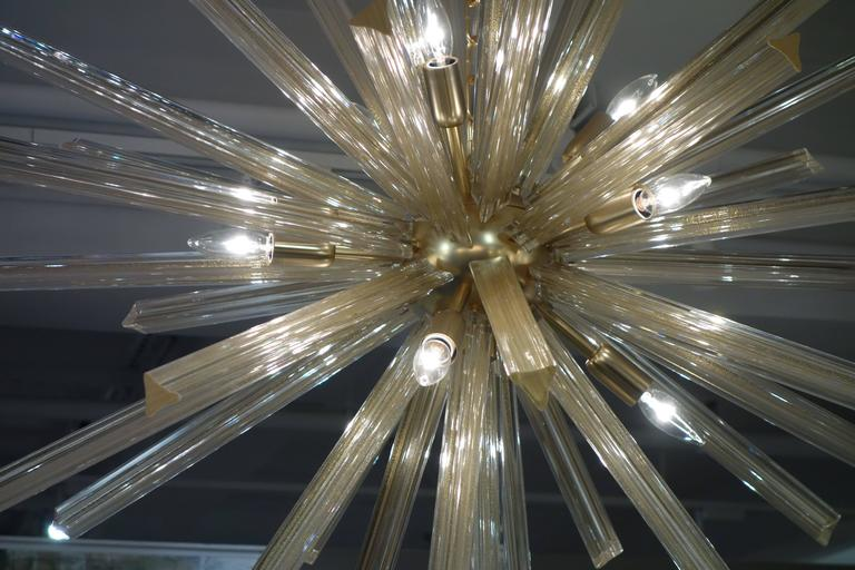Italian Gold Infused Murano Glass and Satin Brass Diameter Sputnik Chandelier 3