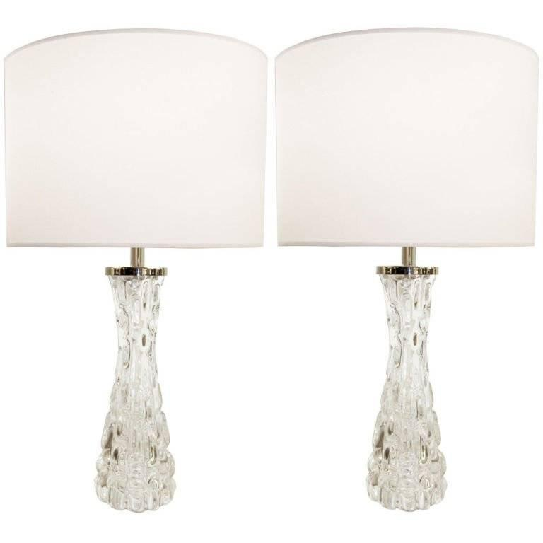 Pair of Carl Fagerlund Clear Crystal Lamps 1