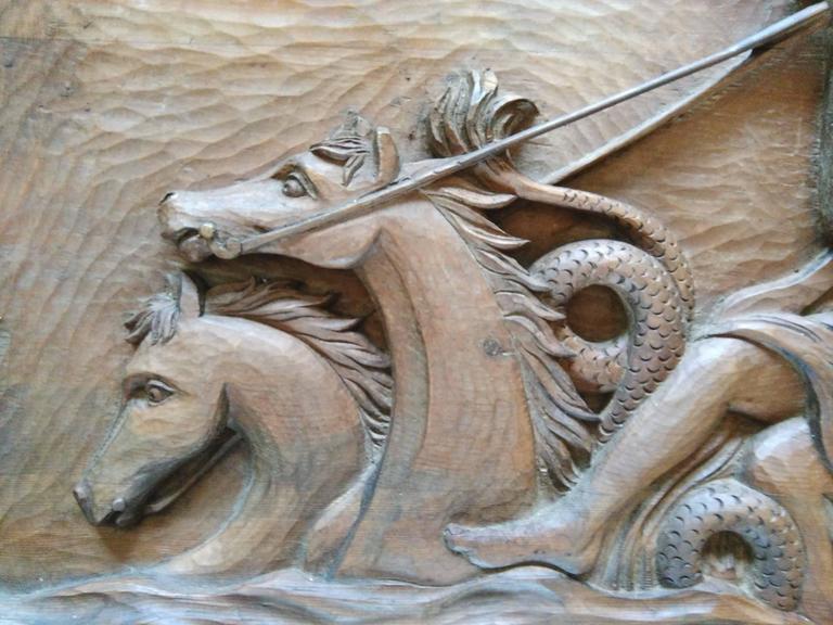 Representing Greek mythology scene with Neptune