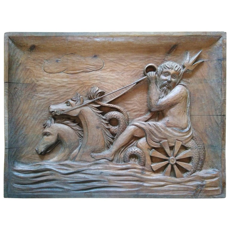 Rare Wall Sculpture, Carved Wood Panel, France, 1940s For Sale