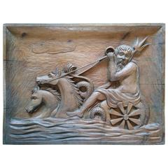 Rare Wall Sculpture, Carved Wood Panel, France, 1940s