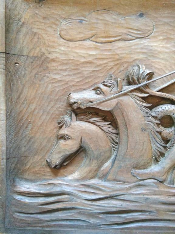 Hand-Carved Rare Wall Sculpture, Carved Wood Panel, France, 1940s For Sale