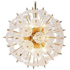 Val St. Lambert Brass and Crystal Disc Sputnik Chandelier
