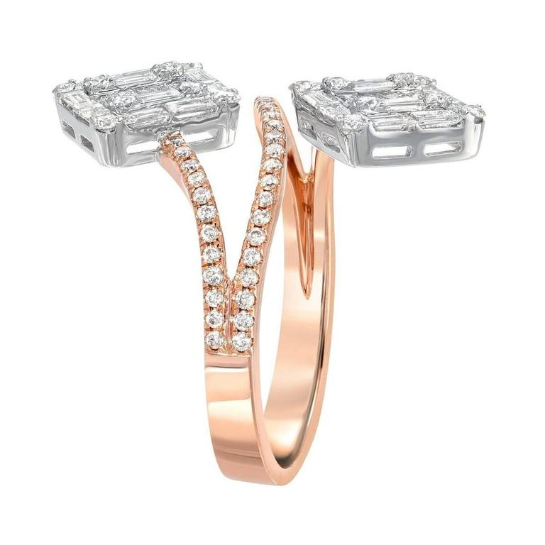 Unique Serpent Style Diamond Rose Gold White Gold Ring 2