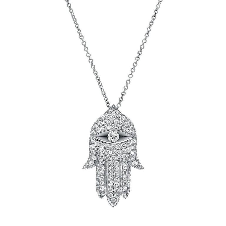 Hamsa diamond white gold pendant at 1stdibs hamsa diamond white gold pendant for sale mozeypictures Images